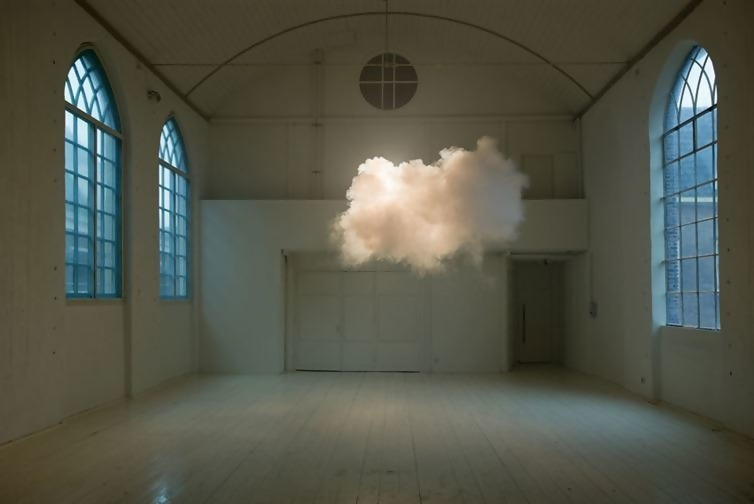 A cloud that formed indoors.