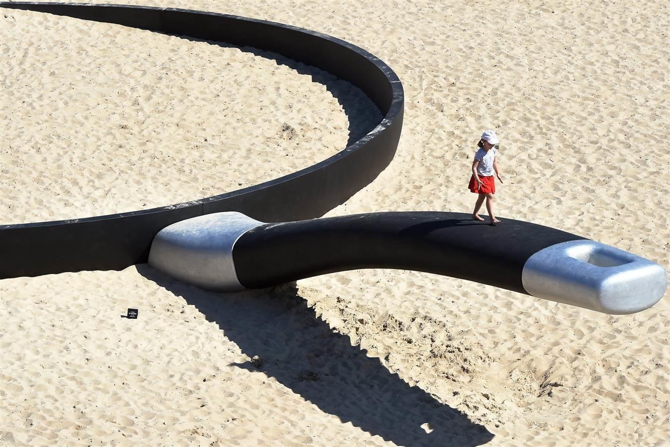 A Frying pan beach sculpture in Sydney, Australia.
