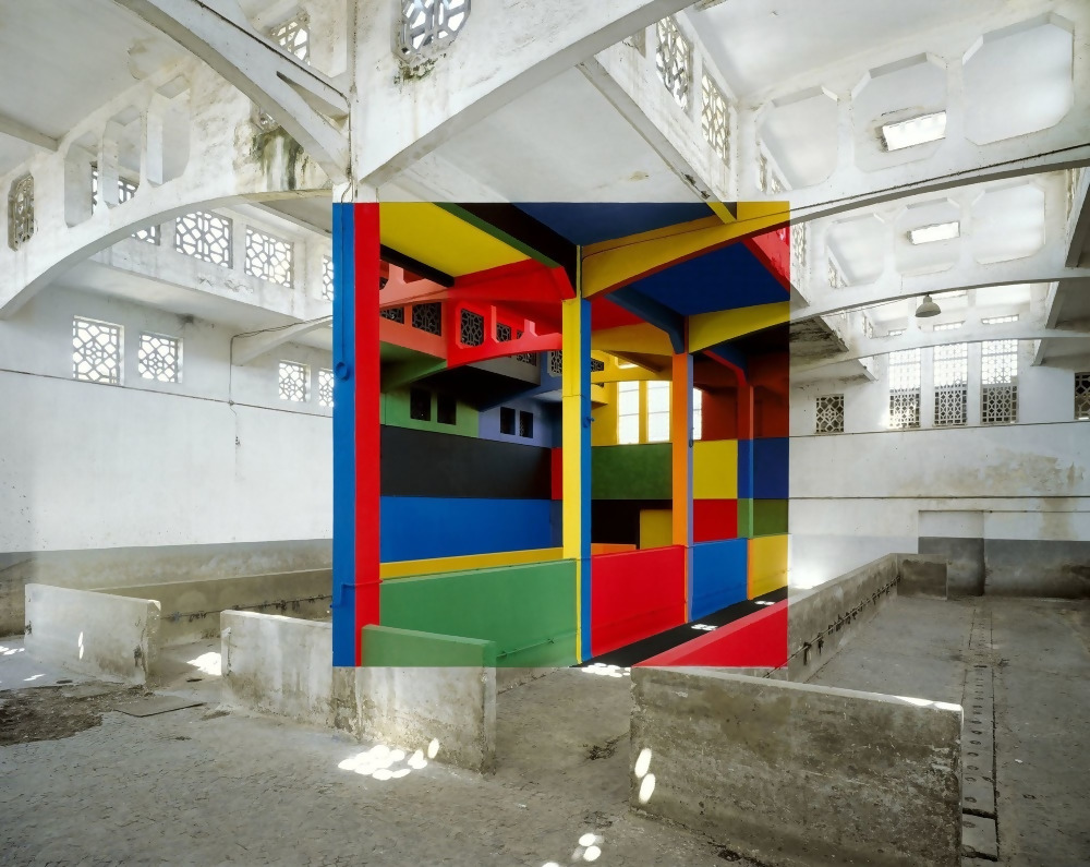 French artist Georges Rousse brightens up the interiors of abandoned buildings.