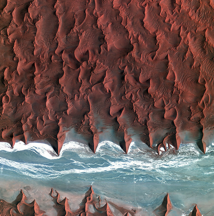 The landscape of the Namib Desert in southern Africa.